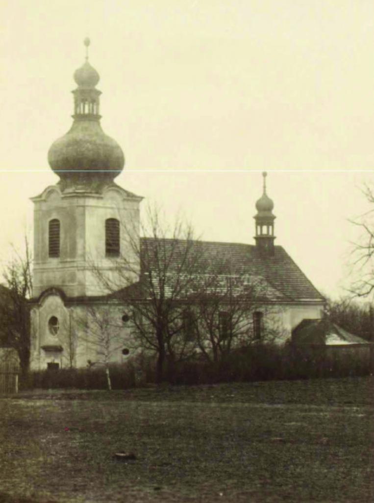 Kostel svatého Vavřince v Kožlanech, přestavěl 1770 Eug. Prusík z Plas